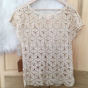 Misia Tops - Misia Ivory Crocheted Top Sz M/L